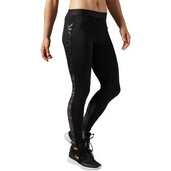 textil Dam Leggings Reebok Sport Workout Show Mesh Logo Svarta