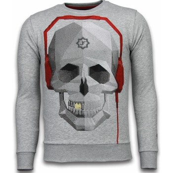 textil Herr Sweatshirts Local Fanatic Skull Beat Rhinestone Grå
