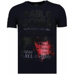 textil Herr T-shirts Local Fanatic Pablo Escobar Narcos Rhinestone Blå