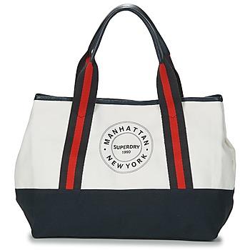 Väskor Dam Shoppingväskor Superdry BAYSHORE BEACH TOTE Vit / Marin / Röd