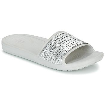Skor Dam Flipflops Crocs SLOANE GRAPHIC ETCHED SLIDE W Vit / Silverfärgad