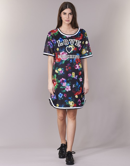 textil Dam Korta klänningar Love Moschino W5A0302 Svart / Flerfärgad