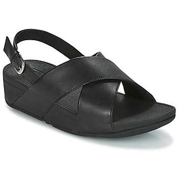Skor Dam Sandaler FitFlop LULU CROSS BACK-STRAP SANDALS - LEATHER Svart