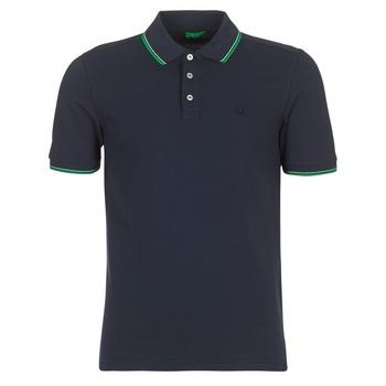textil Herr Kortärmade pikétröjor Benetton MADURI Marin