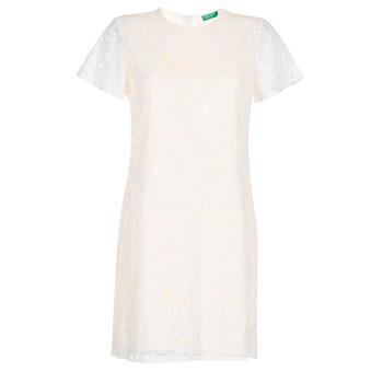textil Dam Korta klänningar Benetton PRISTOUC Vit
