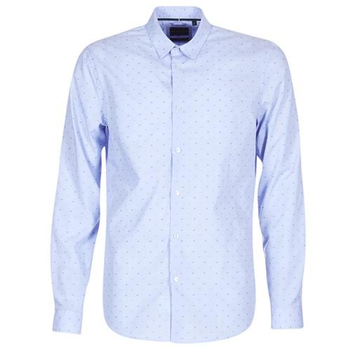textil Herr Långärmade skjortor Sisley KELAPSET Blå / Ljus