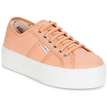 Skor Dam Sneakers Victoria BLUCHER LONA PLATAFORMA Rosa / Beige