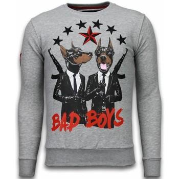 textil Herr Sweatshirts Local Fanatic Bad Boys Dogs Rhinestone Grå