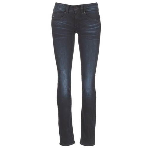 textil Dam Raka byxor G-Star Raw MIDGE SADDLE MID STRAIGHT Blå