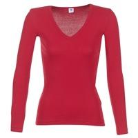 textil Dam Långärmade T-shirts Petit Bateau  Röd