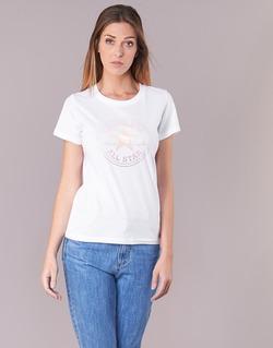 textil Dam T-shirts Converse CONVERSE CLEAR FOIL CHUCK PATCH CREW TEE Vit
