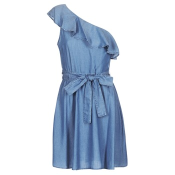 textil Dam Korta klänningar MICHAEL Michael Kors ONE SHLDR RUFFLE DRS Denim