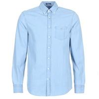 textil Herr Långärmade skjortor Gant THE INDIGO REG Blå