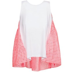 textil Dam Linnen / Ärmlösa T-shirts Manoush AJOURE CARRE Vit / Rosa