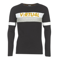 textil Herr Långärmade T-shirts Jack & Jones JCOACE-TEE-LS-CREW-NECK Svart
