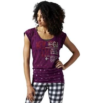 textil Dam T-shirts Reebok Sport Yoga New York Lila