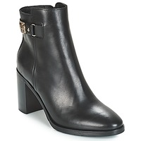 Skor Dam Stövletter Tommy Hilfiger TH BUCKLE HEELED BOOT LEATHER Svart