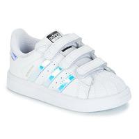 Skor Flickor Sneakers adidas Originals SUPERSTAR CF I Vit / Silver