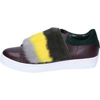 Skor Dam Sneakers Islo sneakers bordeaux pelle verde pelliccia BZ212 Multicolore
