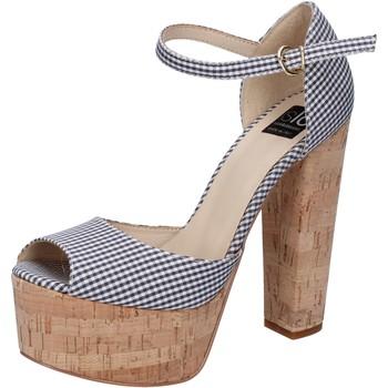 Skor Dam Sandaler Islo sandali nero tessuto bianco BZ223 Nero