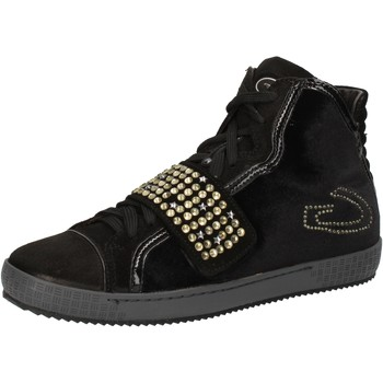 Skor Dam Höga sneakers Guardiani sneakers nero velluto camoscio strass AE827 Nero