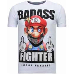 textil Herr T-shirts Local Fanatic Fight Club Mario B W Vit