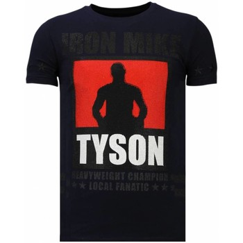 textil Herr T-shirts Local Fanatic Iron Mike Tyson Rhinestone Blå