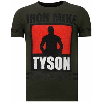 textil Herr T-shirts Local Fanatic Iron Mike Tyson Rhinestone K Khaki Grön