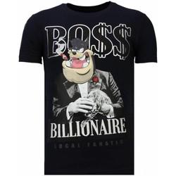 textil Herr T-shirts Local Fanatic Billionaire Boss Rhinestone N Blå