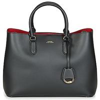 Väskor Dam Handväskor med kort rem Lauren Ralph Lauren DRYDEN MARCY SATCHEL LARGE Svart / Röd