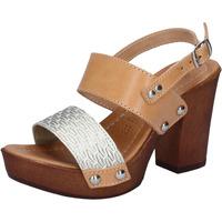 Skor Dam Sandaler Made In Italia sandali platino pelle marrone cuoio BY516 Marrone