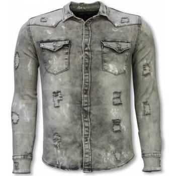 textil Herr Långärmade skjortor True Rise För Jeansskjorta DCG Grå