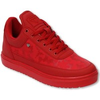 Skor Herr Sneakers Cash Money Fina Skor Low Camouflage Side Army Full Red Röd