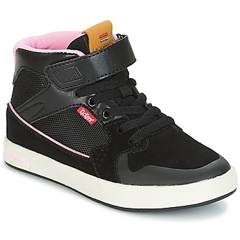 Skor Flickor Höga sneakers Kickers GREADY MID CDT Svart / Rosa
