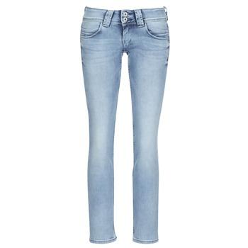 textil Dam Raka byxor Pepe jeans VENUS Blå / Ljus