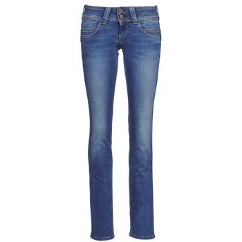 textil Dam Raka byxor Pepe jeans VENUS Blå