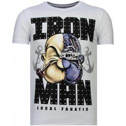 textil Herr T-shirts Local Fanatic Iron Popeye Rhinestone W Vit
