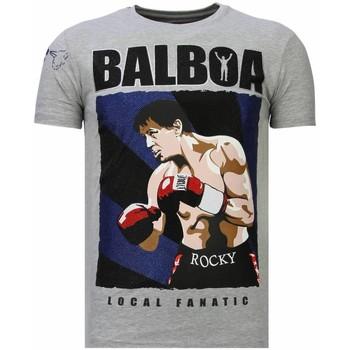 textil Herr T-shirts Local Fanatic Balboa Rocky Rhinestone G Grå