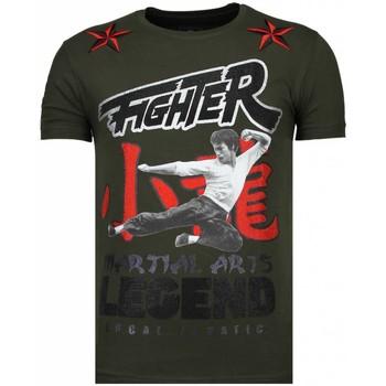 textil Herr T-shirts Local Fanatic Fighter Legend Rhinestone K Khaki Grön