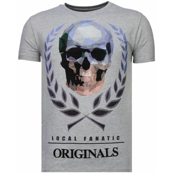 textil Herr T-shirts Local Fanatic Skull Originals Rhinestone G Grå