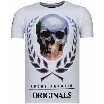 textil Herr T-shirts Local Fanatic Skull Originals Rhinestone W Vit