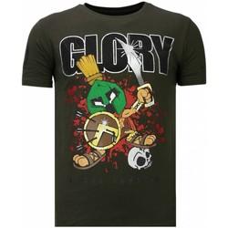 textil Herr T-shirts Local Fanatic Glory Martial Rhinestone K Khaki Grön