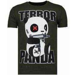 textil Herr T-shirts Local Fanatic Terror Panda Rhinestone K Khaki Grön