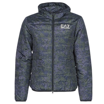 textil Herr Täckjackor Emporio Armani EA7 TRAIN GRAPHIC SERIES M JACKET HOODIE ALL OVER CAMOU Kaki / Blå