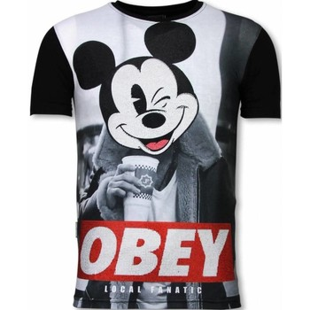 textil Herr T-shirts Local Fanatic Obey Mouse Rhinestone Z Svart