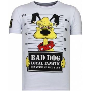 textil Herr T-shirts Local Fanatic Bad Dog Rhinestone W Vit