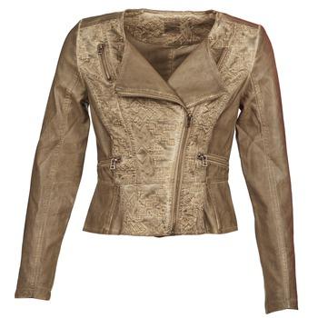 textil Dam Skinnjackor & Jackor i fuskläder Cream LIL Mullvadsfärgad