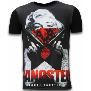 textil Herr T-shirts Local Fanatic Gangster Marilyn Rhinestone Z Svart