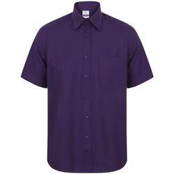 textil Herr Kortärmade skjortor Henbury HB595 Lila