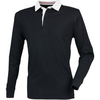 textil Herr Långärmade pikétröjor  Front Row FR104 Svart